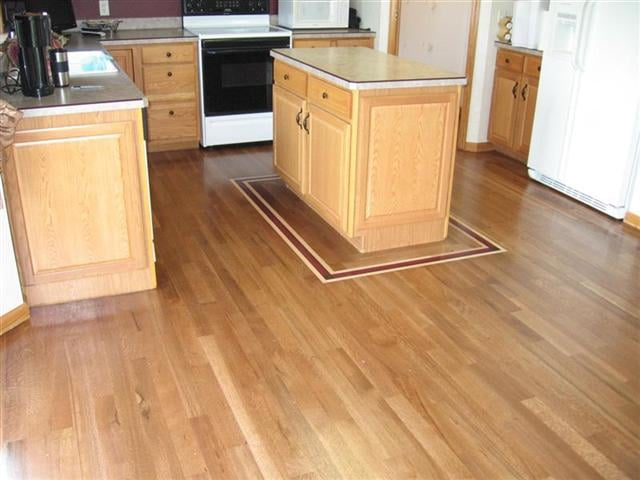 White Oak Kitchen Floor Stained Provincial Island Has A