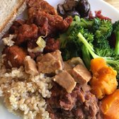 Adzuki bean stew, blanched mushrooms, kale and broc, butternut squash ...