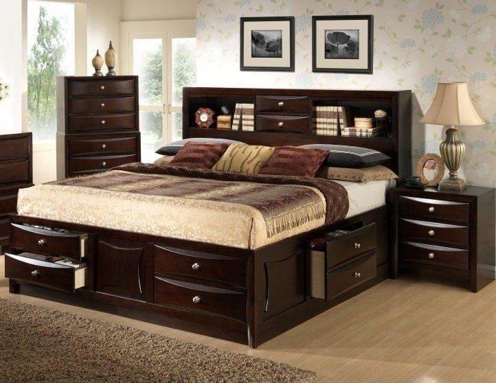Large Double Drawer Storage Bed With Bookcase Headboard