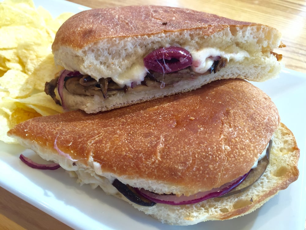 Roasted eggplant panini with feta kalamata olives garlic for Italian kitchen silver spring maryland