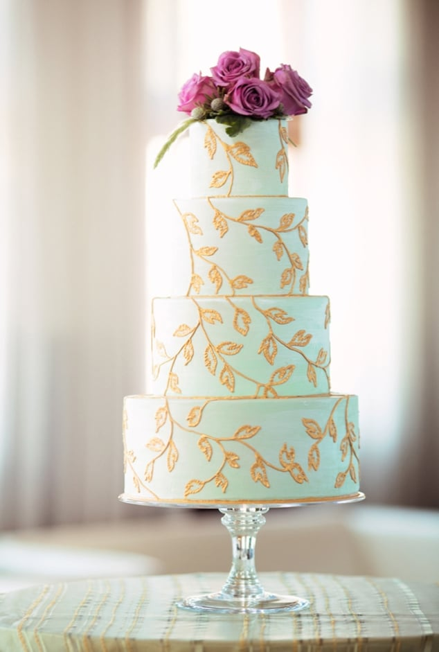 Mint Green Wedding Cake With Hand Piped And Handpainted Gold Vines