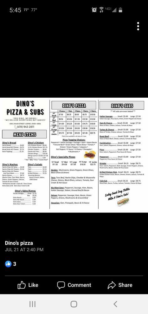 Dino's Pizzas & Subs: 108 E Main St, Leipsic, OH