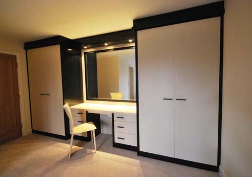 White High Gloss Fitted Wardrobes With Dressing Table Yelp
