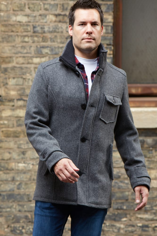 SchottNYC Wool Car Coat. Zip & button front - ribbed knit collar ...