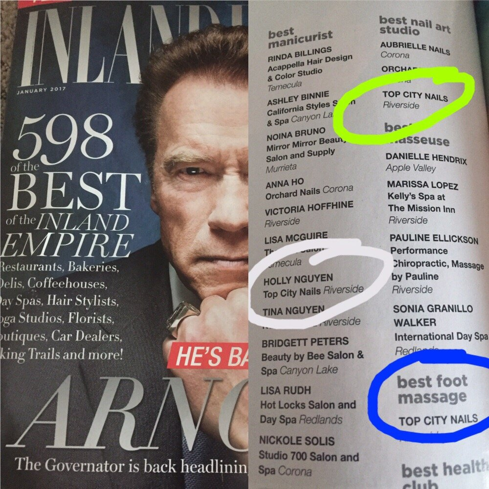 Thank you INLAND EMPIRE MAGAZINE for acknowledging Top City Nails as ...