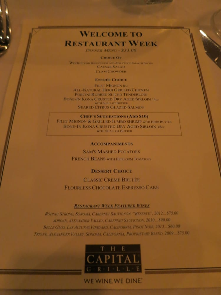 Capital Grill Restaurant Week Menu