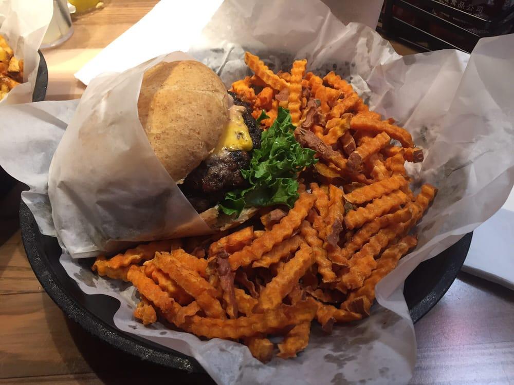 Jerrys cheeseburger with sweet tator fries - Yelp