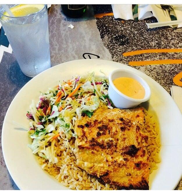 My food salmon with brown rice mmm so good yelp for Wahoo fish taco