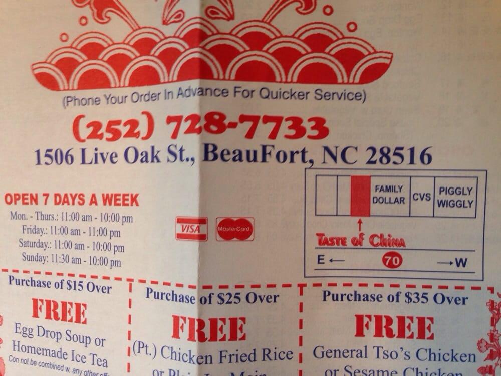 Taste of China: 1506 Live Oak St, Beaufort, NC