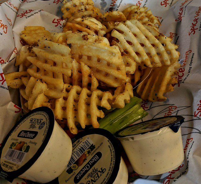 Order of Waffle Fries, blue cheese, celery and carrots
