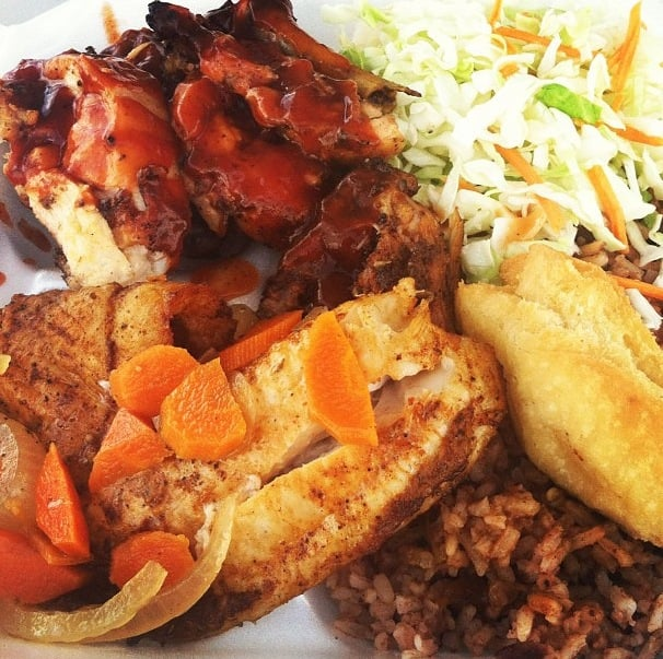 Jerk chicken fried fish rice brans festival bread yelp for Island fish grill