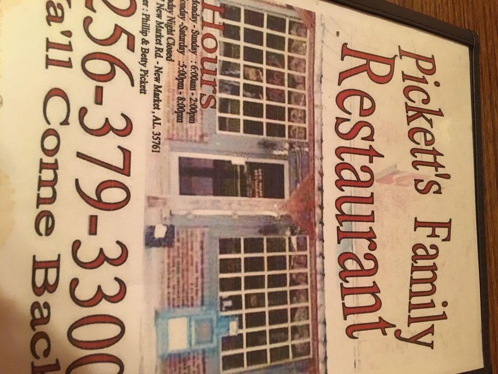 Pickett's Family Restaurant: 1737 New Market Rd, New Market, AL
