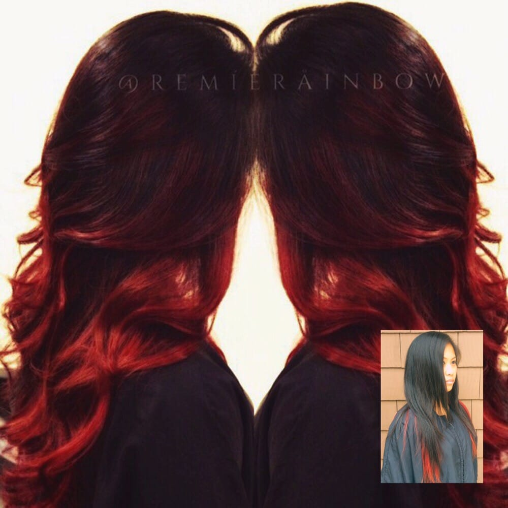 Hair Cut And Color Transformation Ruby Red Ombryage Instead Of