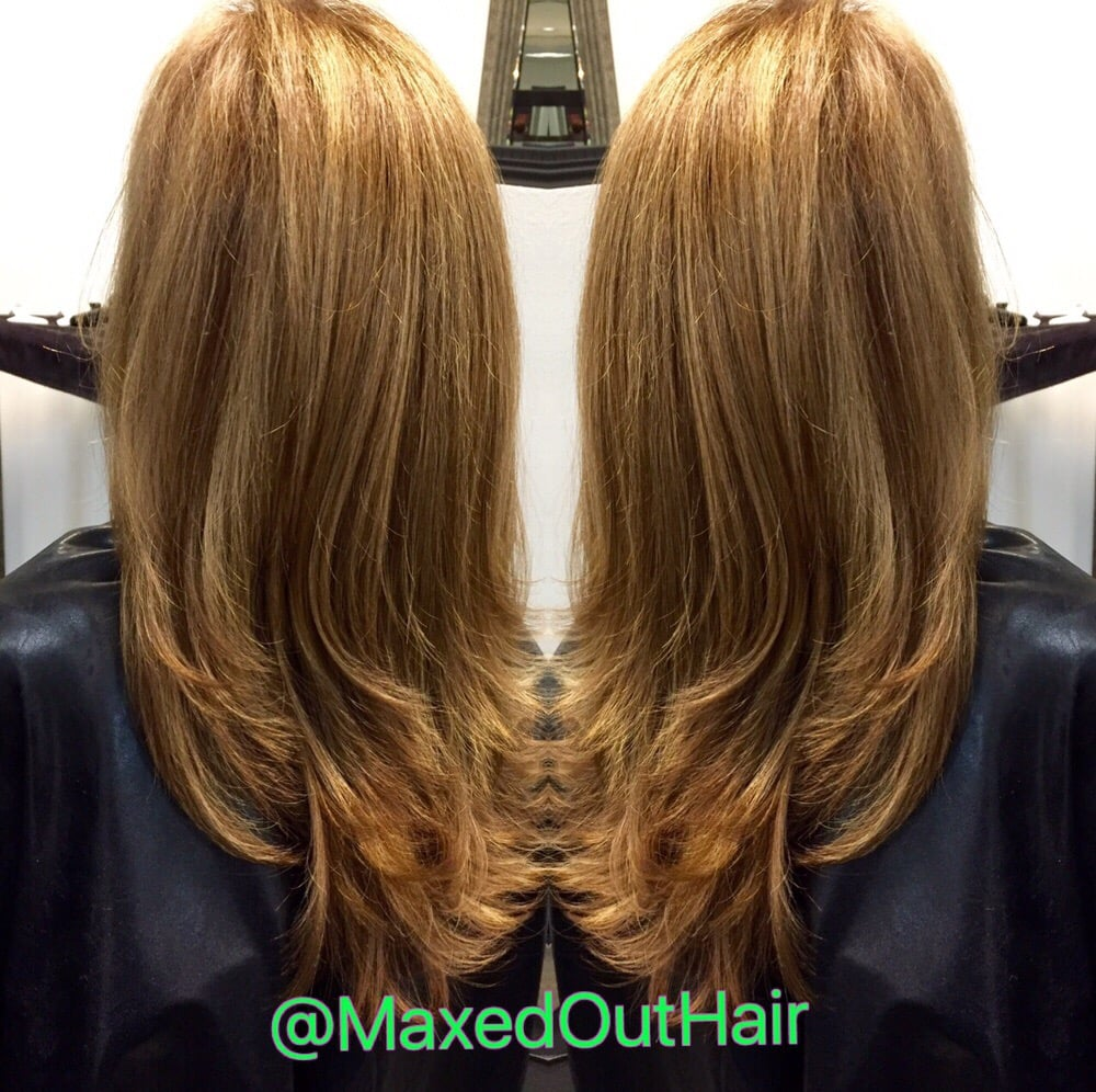 Honey Blonde Highlights On A Golden Mahogany Base Yelp