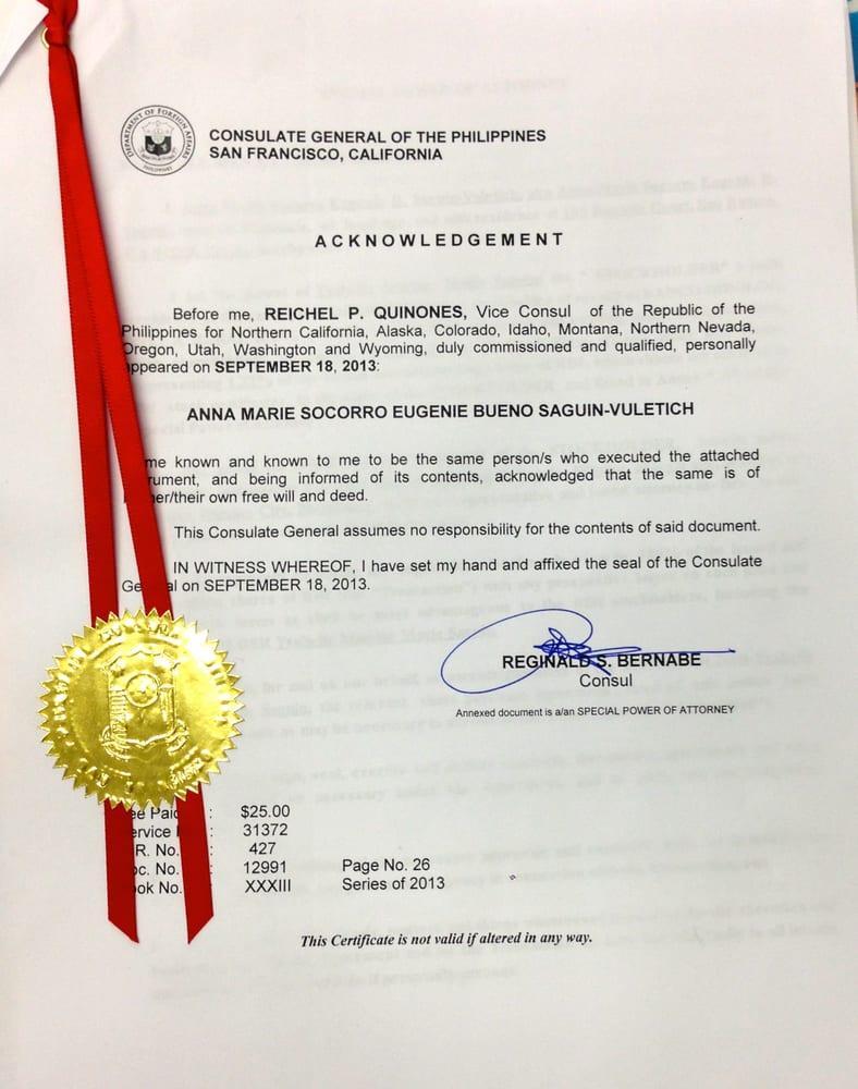 philippine consulate los angeles special power attorney - Grad Kaštela