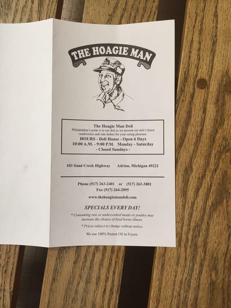 The Hoagie Man Deli: 103 Sand Creek Hwy, Adrian, MI