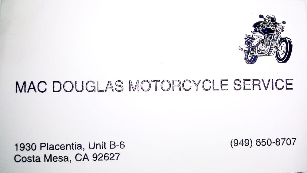 Mac Douglas Motorcycle Service - Motorcycle Repair - 1930 Placentia