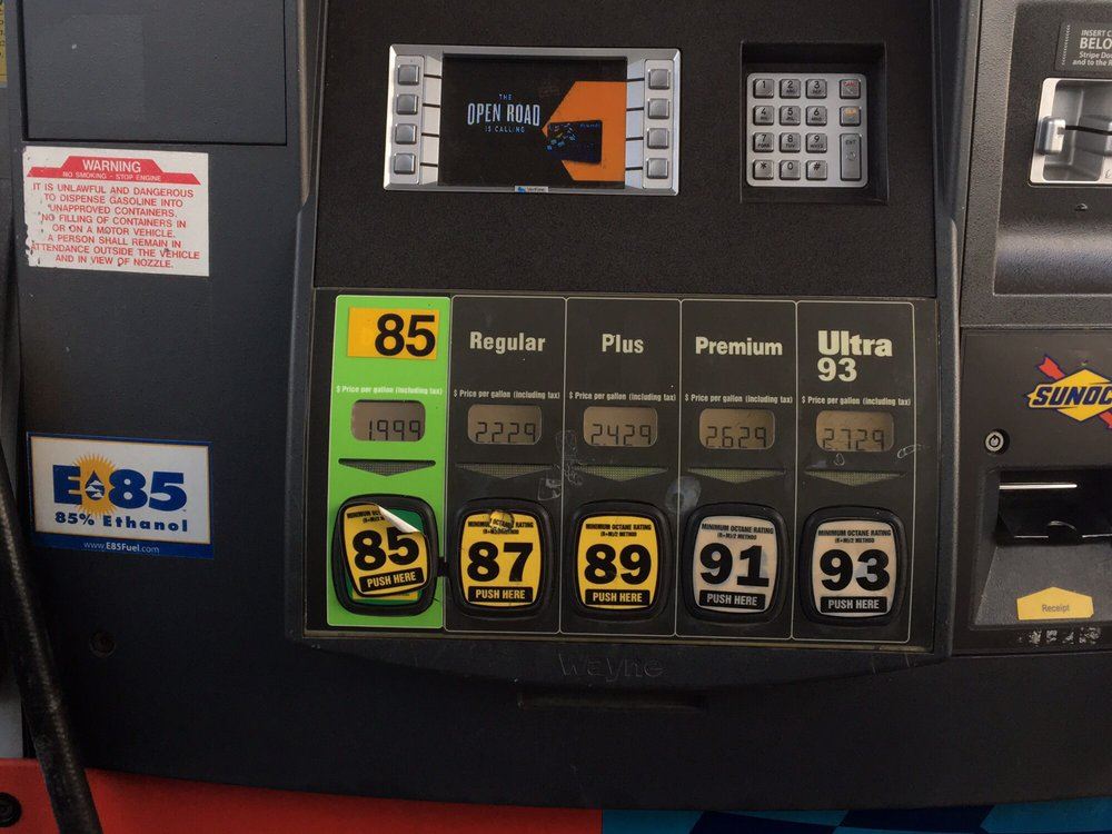 E85 is NOT 85 octane! This is actually E85 on the left, not