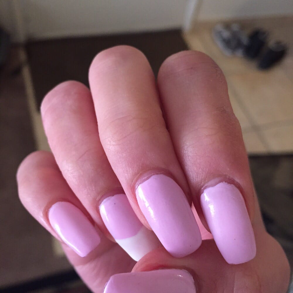 Pretty pink and accented French tip acrylic nails! - Yelp