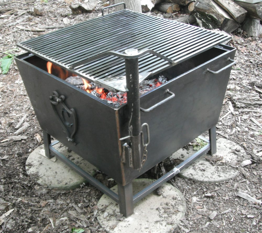 Heavy Custom Fabricated Iron Fire Pit And Cooking Stove