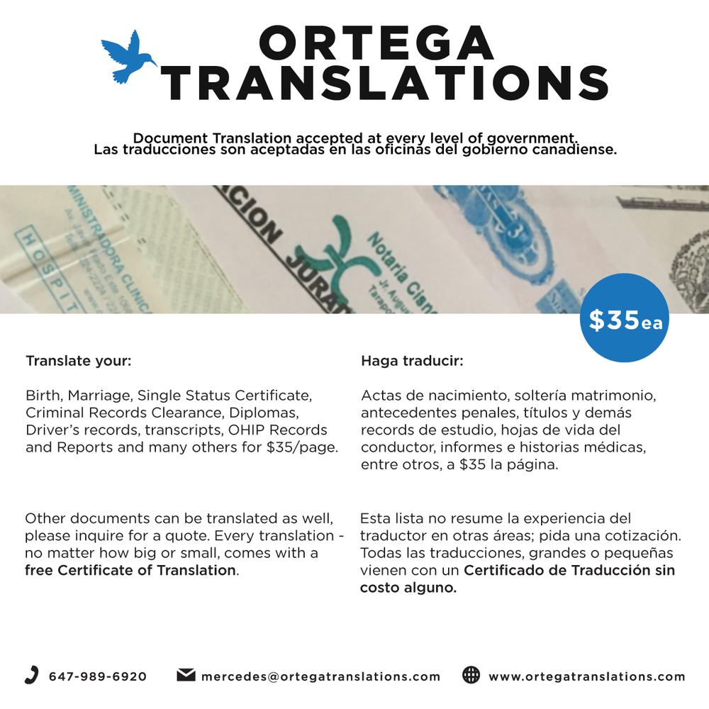 Ortega Translations - Get Quote - Translation Services - Toronto, ON ...