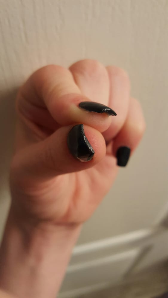 Thick acrylic globbed on, cuts/burns on my cuticles, uneven filing ...
