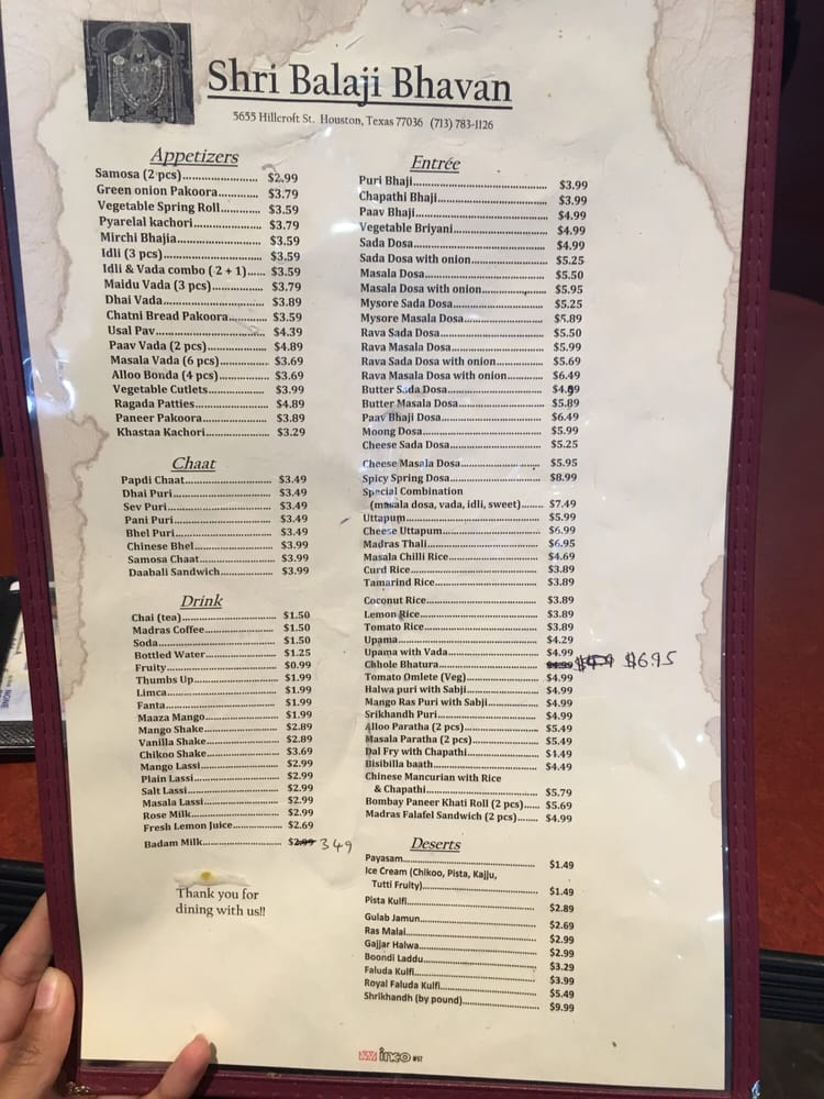 Shri Balaji Bhavan - Houston, TX, United States. Menu.