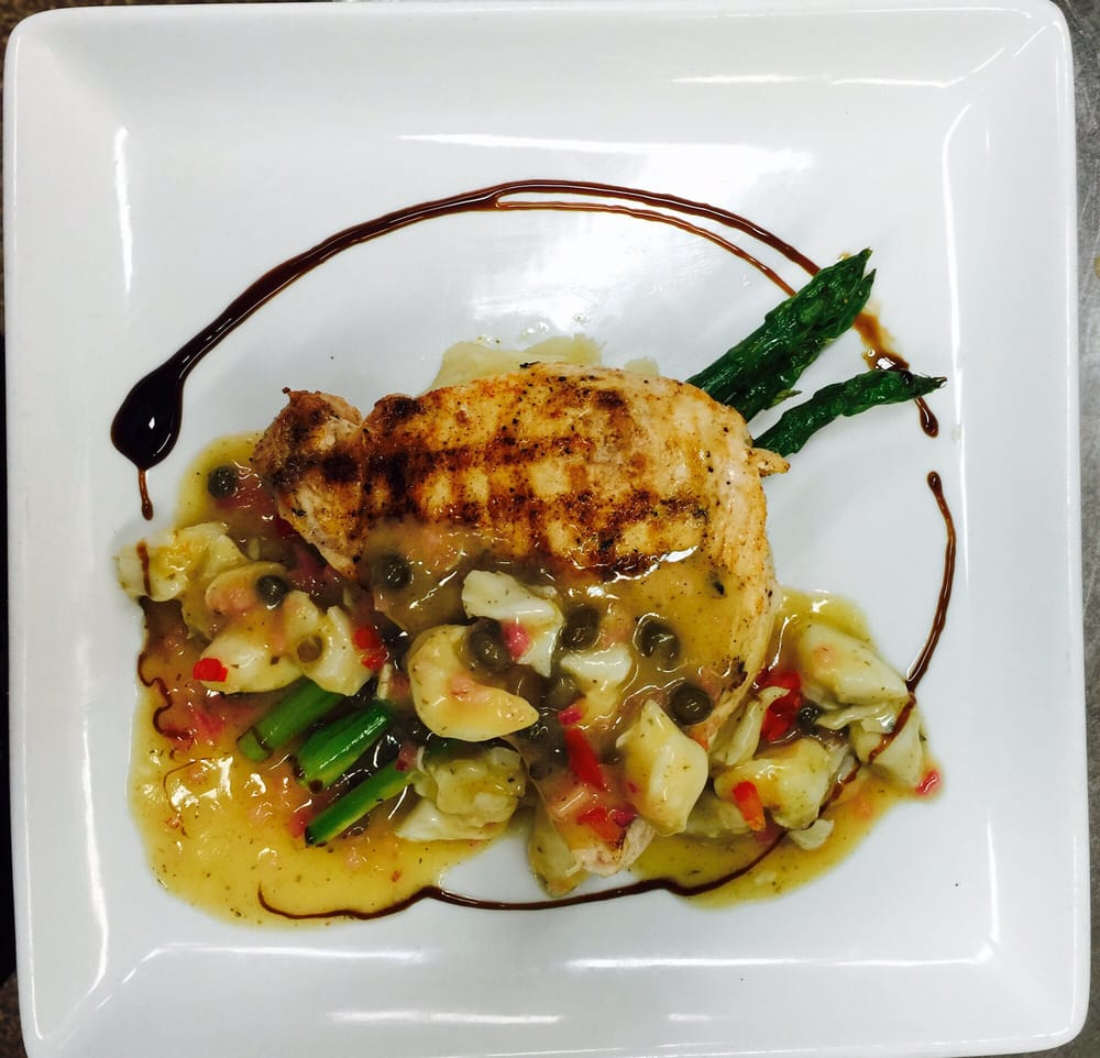 grilled swordfish with asparagus, crab meat smashed potato ...