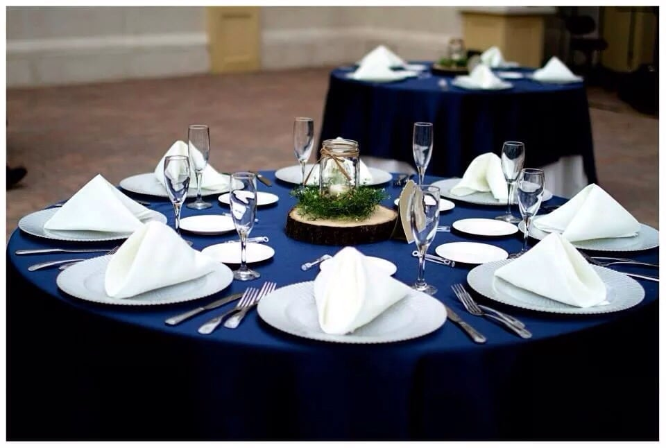Navy Blue Tablecloths And Ivory Napkins Yelp