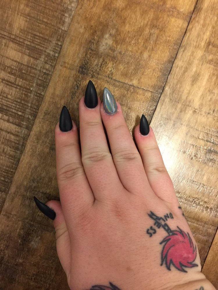 Matte black with chrome ring finger - Yelp