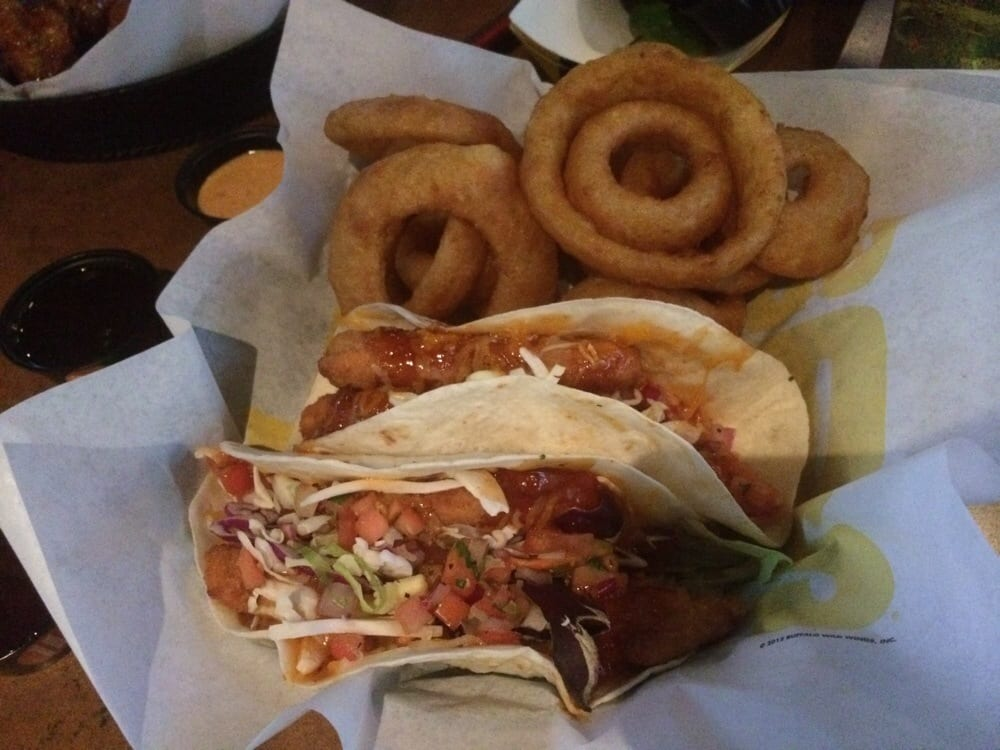 Fish tacos with mango habanero and substitute fries for for Wings fish