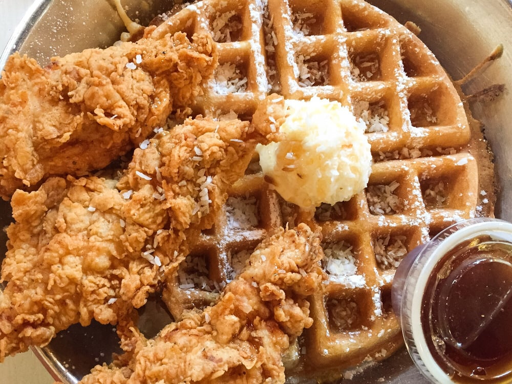 Photo of Chicken Scratch - Dallas, TX, United States. Their delicious chicken and coconut waffle - $10.83