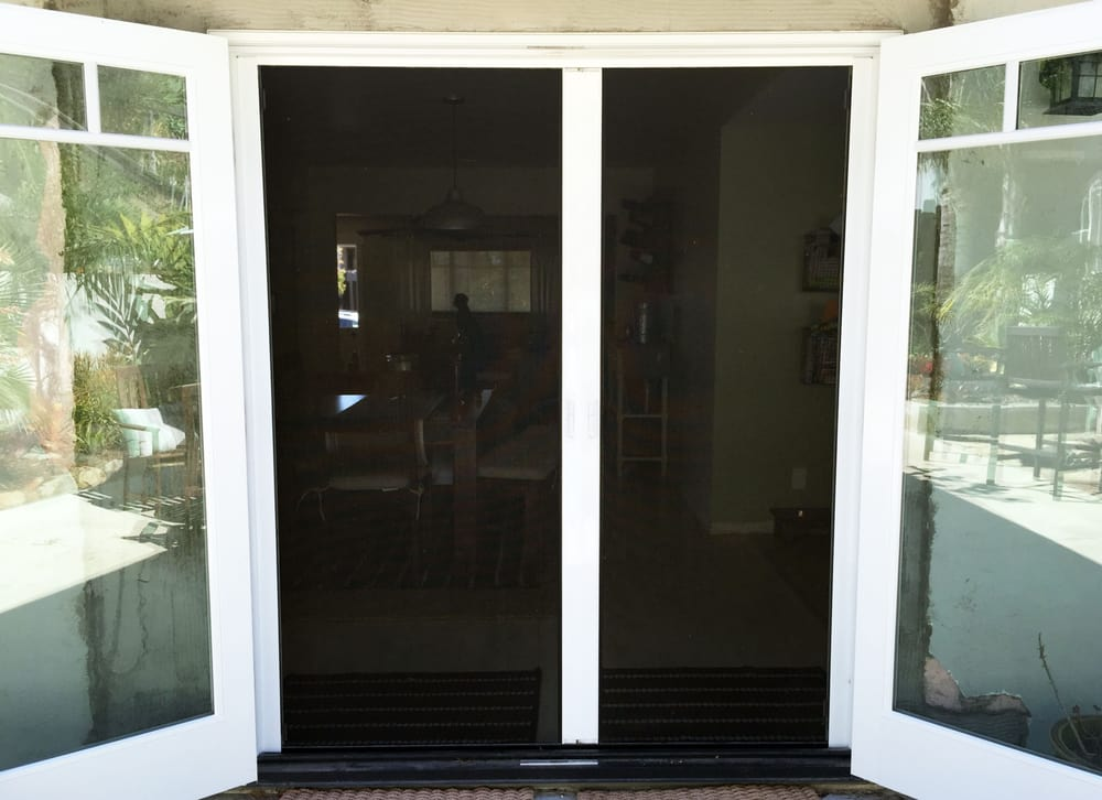 Photo of Mobile Speed Screens - Encinitas CA United States. French entryway RollAway & French entryway RollAway © Retractable Screen Doors Installed (shown ...