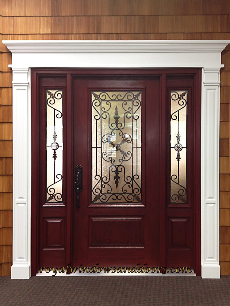 Single Royal Entry Door With 2 Side Lights Wrought Iron