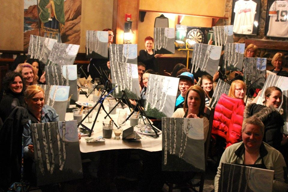 Wine canvas paint sip civic center cleveland oh for Paint and sip cleveland