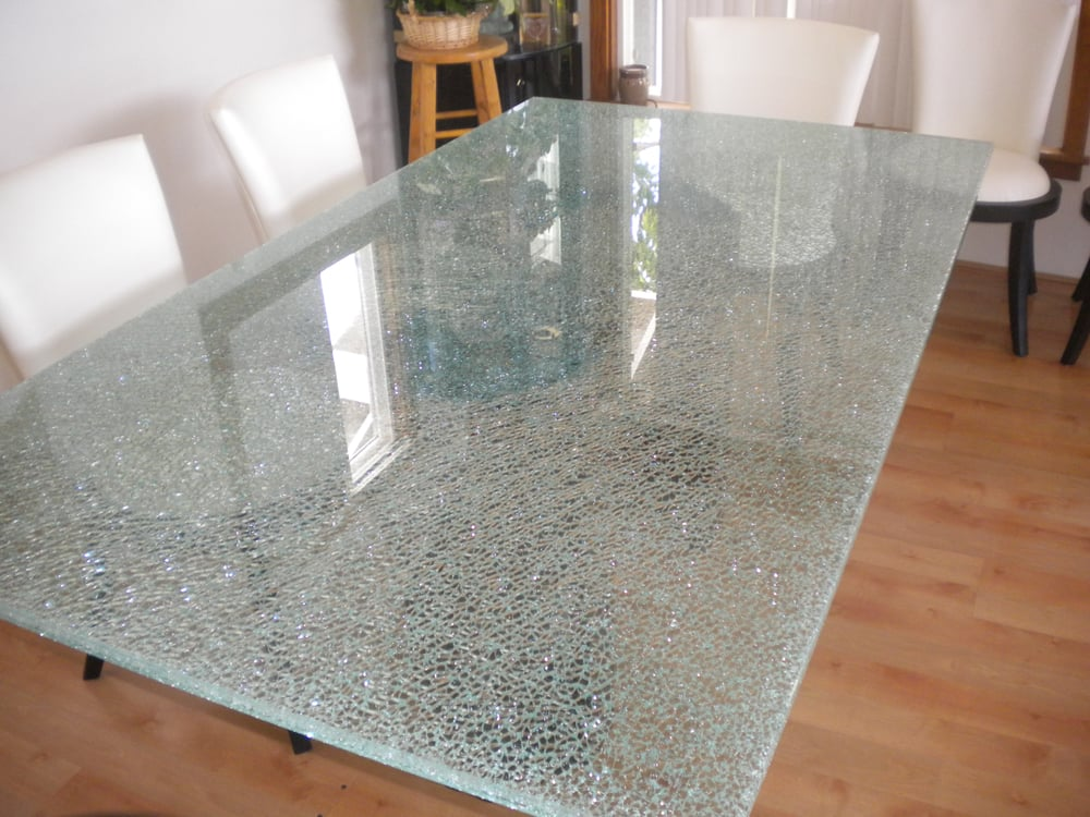 frosted glass dining room table
