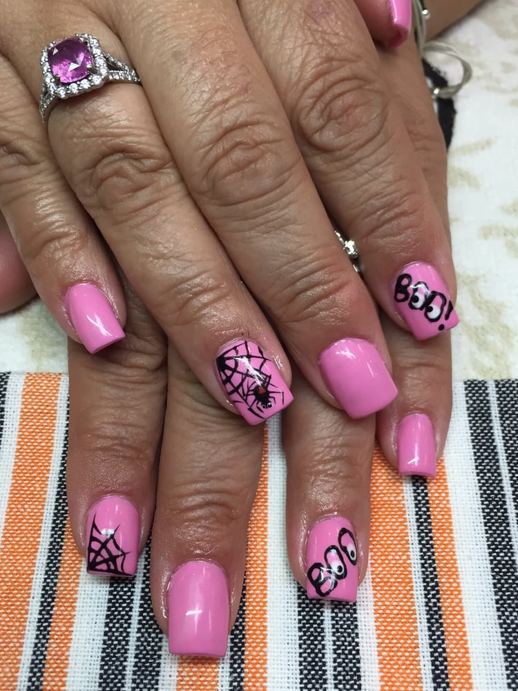 Breast cancer awareness and halloween nails combined for 50th avenue salon quartz hill ca