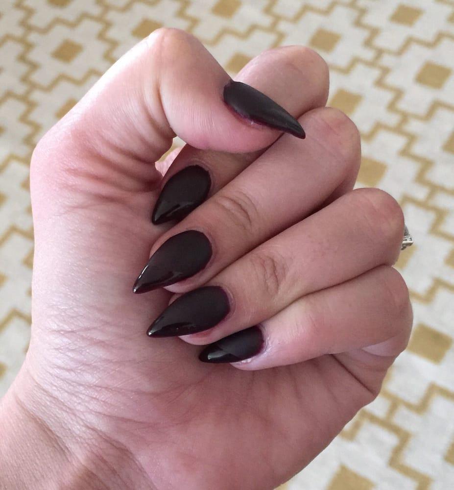Vampy matte stiletto nails with glossy diagonal tips. By Ashlie! I ...