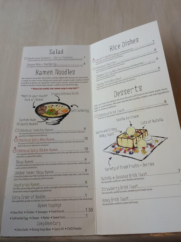 Chibiscus Asian Cafe Menu