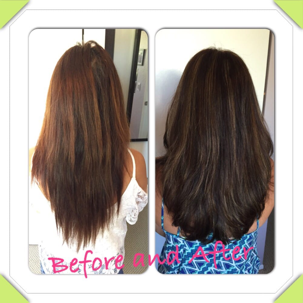 Damaged hair with streaky highlights. The color, highlights and ...