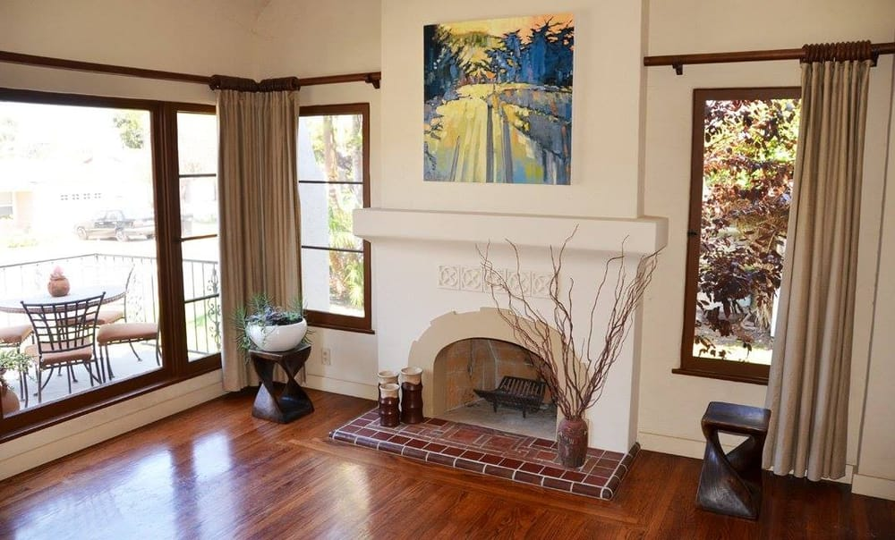 Stucco Italiano lime plaster fireplace over top of an old ...   Chimney Stucco Over Brick