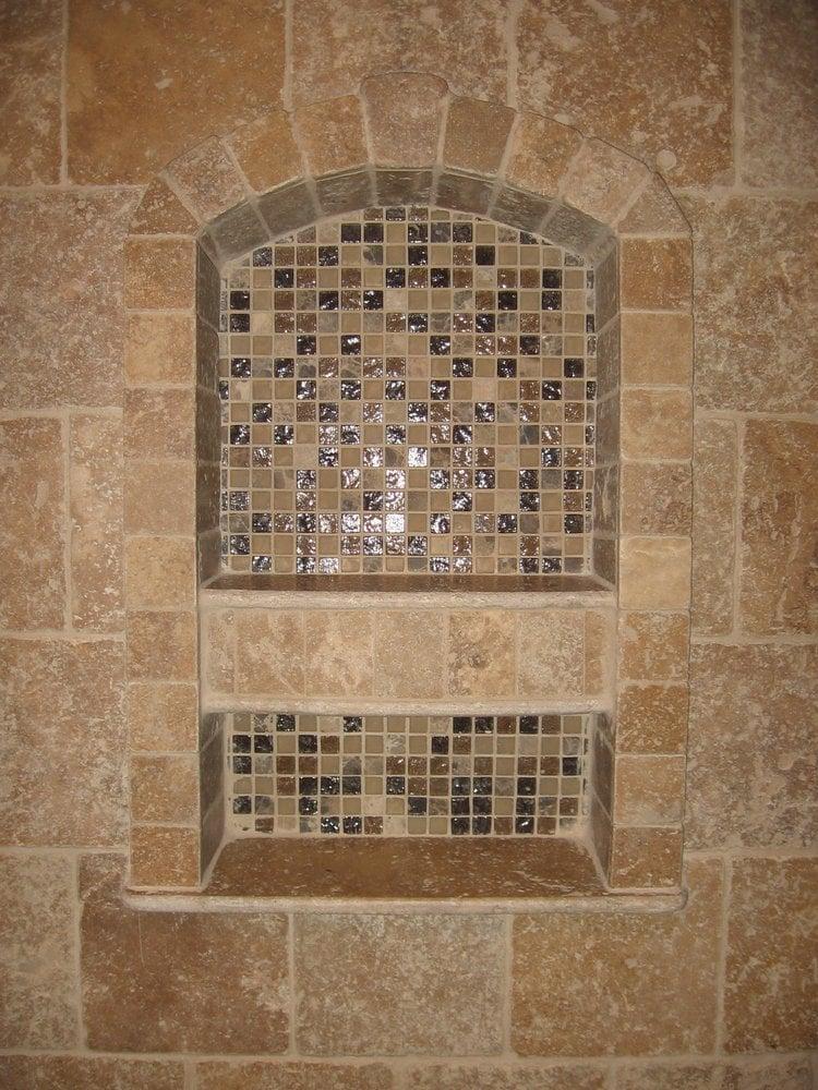 Glass Amp Stone Mosaic Shower Niche Yelp
