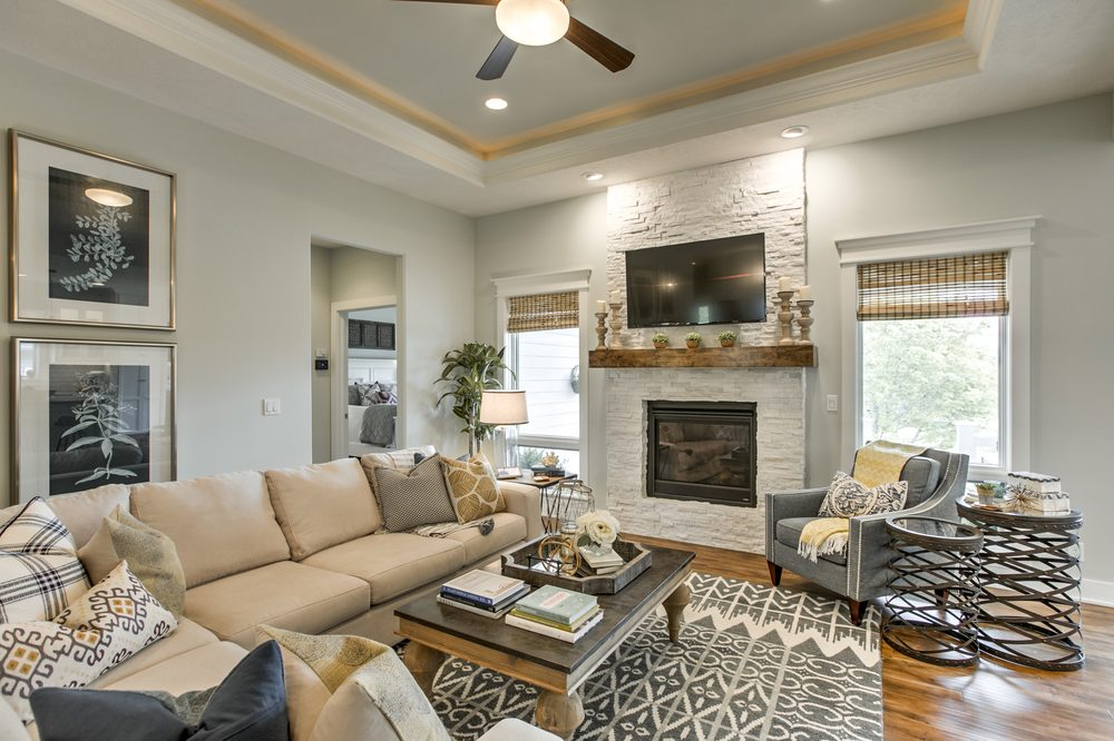 neutral modern farmhouse living room with stone fireplace. - yelp