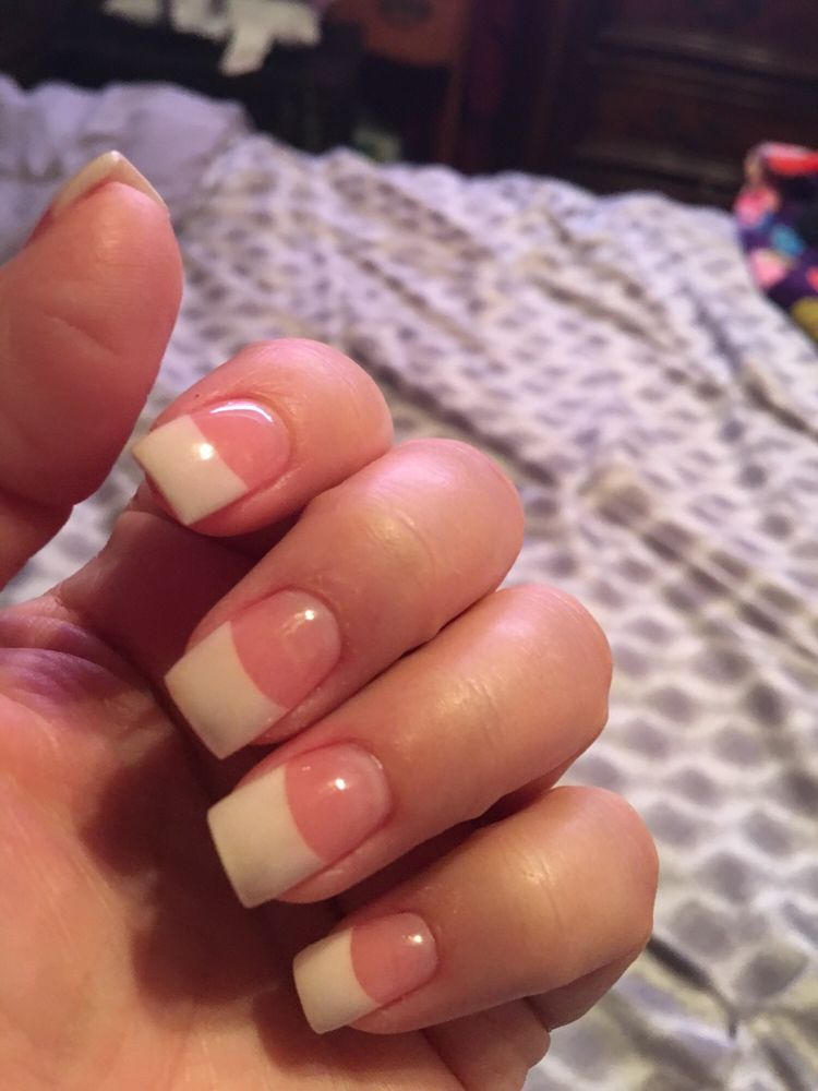Love my pink and white acrylic nails, with clear gel on top - Yelp