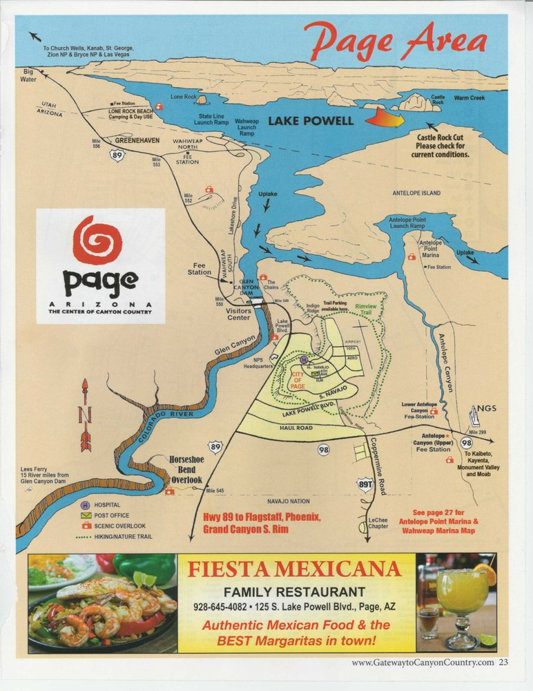 Page, Lake Powell, and the Colorado River. Map courtesy of Gateway ...