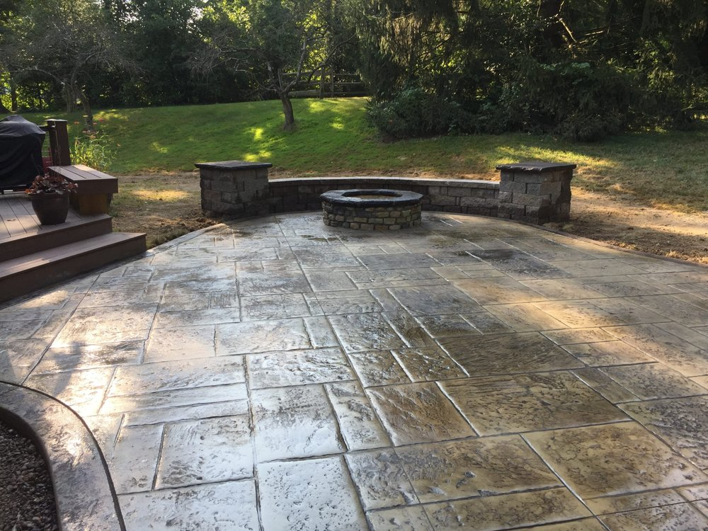 Loveland Ohio Stone Fire Pit On A Stamped Concrete Patio Also Has