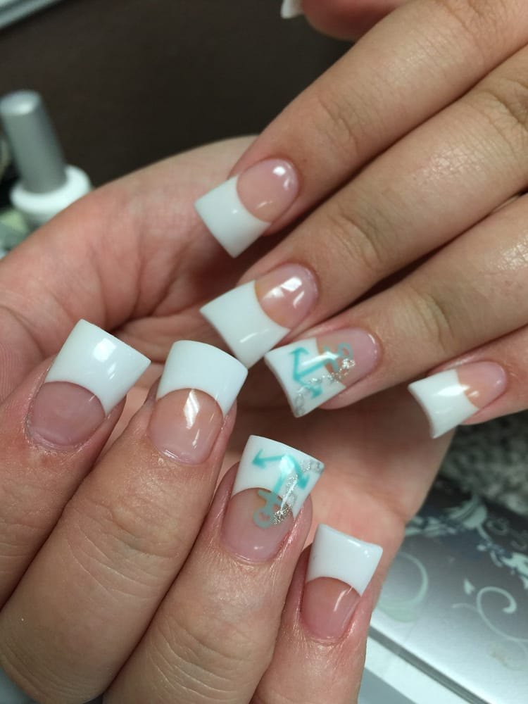 Pink and white tips with anchor nails designs - Yelp