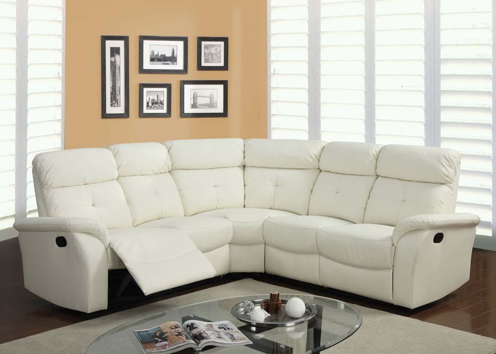 white reclining leather sectional with sleeper sofa
