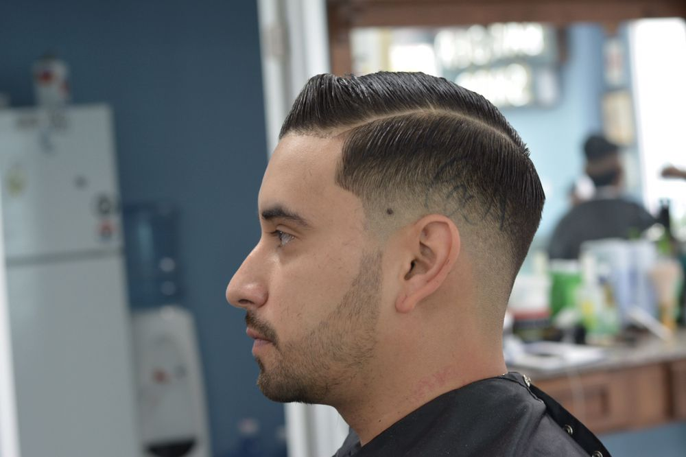 Haircut By Justin Cull Traditional Side Part With A Beard Line Up