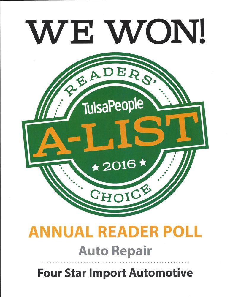 Four Star Import   Auto Repair   9906 E 55th Pl, East Tulsa, Tulsa, OK    Phone Number   Yelp